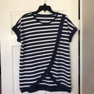 Blue and White Striped Nursing Top (Size M)